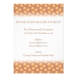 Brown and Orange Floral Pattern. Custom Invitation