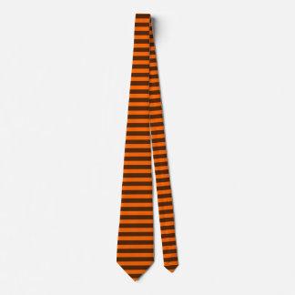 Brown and Orange Horizontal-Striped Tie