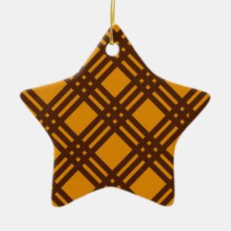 Brown and Orange Lattice Ceramic Star Decoration