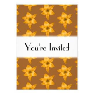Brown and Orange Lily Pattern. Custom Invitations