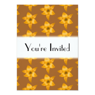 Brown and Orange Lily Pattern. 5x7 Paper Invitation Card