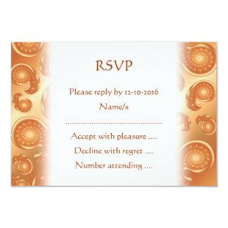 Brown and Orange Paisley Pattern 9 Cm X 13 Cm Invitation Card