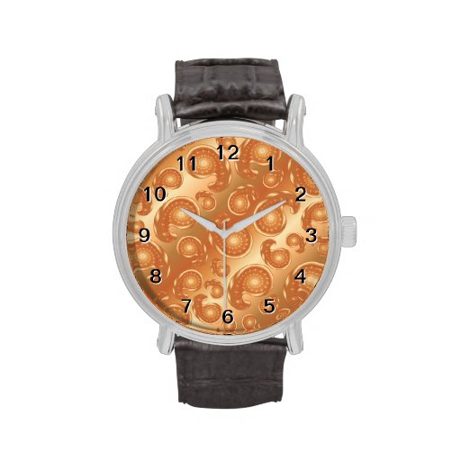 Brown and Orange Paisley Pattern Wrist Watches