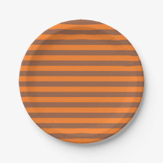 Brown and Orange Stripes 7 Inch Paper Plate