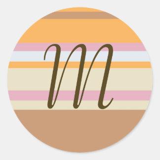 Brown and Orange Stripes Monogram (Customizable) Round Sticker