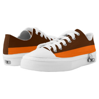Brown and Orange Two-Tone Lo-Tops Printed Shoes