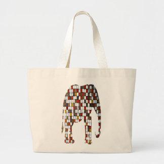 Brown and Oranges Squares Elephant Bag