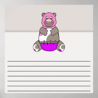 Brown And Pink Polkadot Bear Print