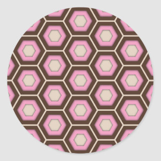Brown and Pink Tiled Hex Round Sticker