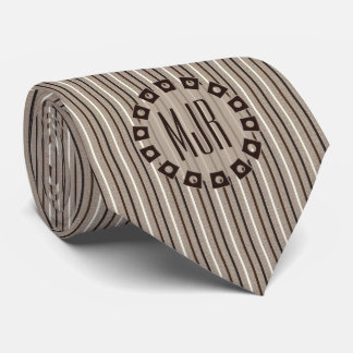 Brown and Taupe Pinstripes   Monogrammed Tie