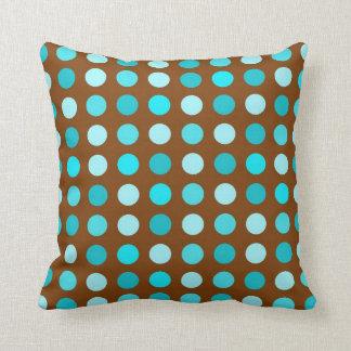 Brown and Turquoise Polka Dot Throw Pillow