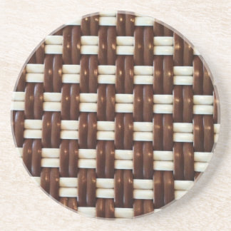 Brown and White Basket Weave Coaster