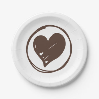 Brown And White Heart Wedding Bridal Shower Love 7 Inch Paper Plate