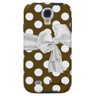 Brown and White Polka Dot Samsung Galaxy S4 Case
