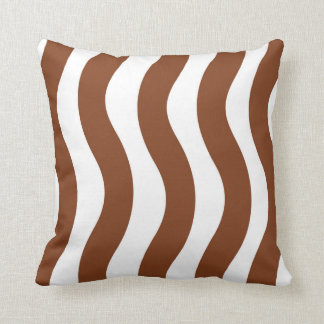 Brown and White Wavy Stripes Cushion