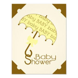 Brown and Yellow Umbrella Baby Shower Invitation