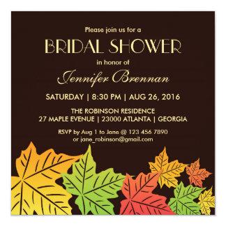 Brown Autumn Falling Maple Leaf Wedding Invitation