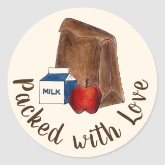 Brown Bag School Lunch Packed with Love Classic Round Sticker