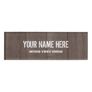 Brown barn wood grain rustic name tag badge