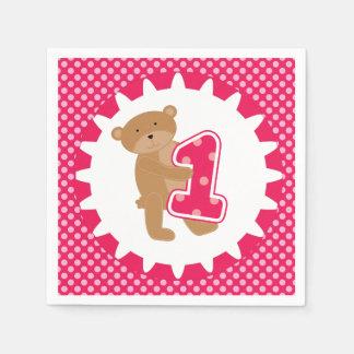 Brown Bear 1st Birthday Paper Napkins