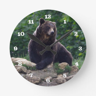 Brown bear round clock