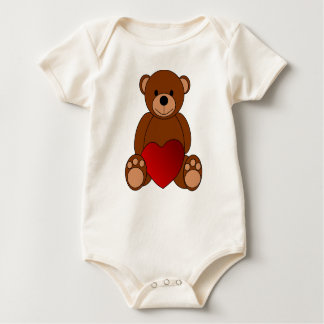 Brown bear with heart romper
