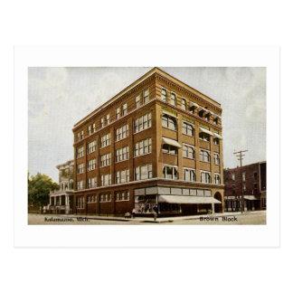 Brown Block Kalamazoo Michigan Postcard