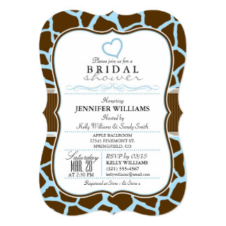 "Brown, Blue Giraffe Animal Print Bridal Shower 5"" X 7"" Invitation Card"
