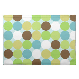 Brown blue polka dots placemat