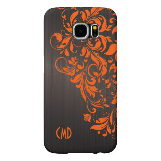 Brown Brushed Aluminum & Orange Lace Samsung Galaxy S6 Cases