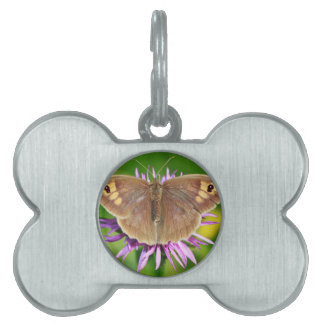 Brown Butterfy on Flower Pet Name Tags