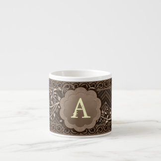 Brown Chevron on Burlap with Monogram Espresso Cup
