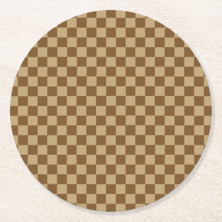 Brown Combination Classic Checkerboard Round Paper Coaster