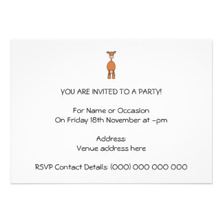Brown Cow Cartoon. Front. Personalized Invitations