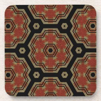 Brown, Cream Retro Dots Art Seamless Pattern Coaster