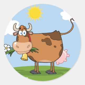 Brown Dairy Cow Round Sticker