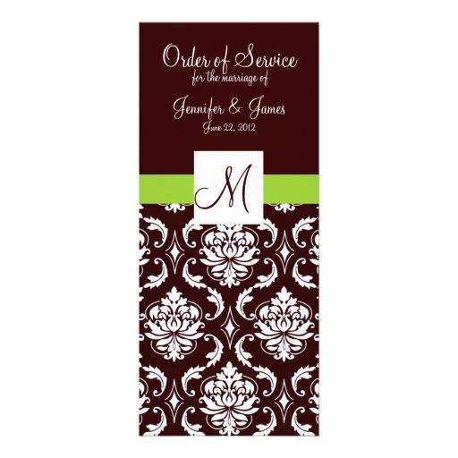 Brown Damask Wedding Programs with Monogram Invite