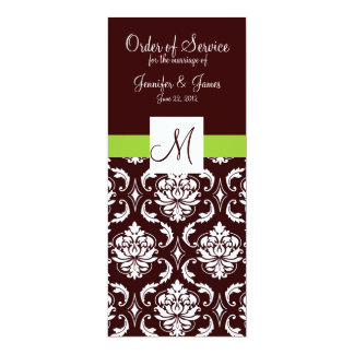 Brown Damask Wedding Programs with Monogram Invite