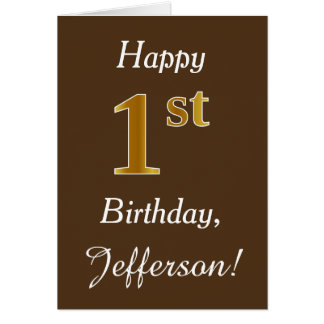 Brown, Faux Gold 1st Birthday + Custom Name Card