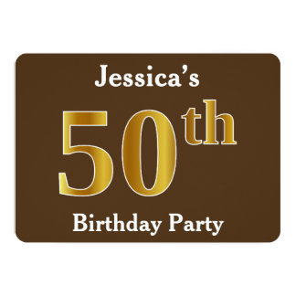 Brown, Faux Gold 50th Birthday Party; Custom Name Card