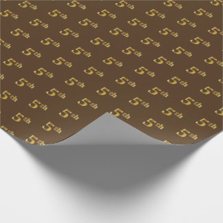 Brown, Faux Gold 5th (Fifth) Event Wrapping Paper