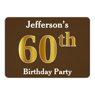 Brown, Faux Gold 60th Birthday Party; Custom Name Card