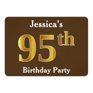 Brown, Faux Gold 95th Birthday Party; Custom Name Card