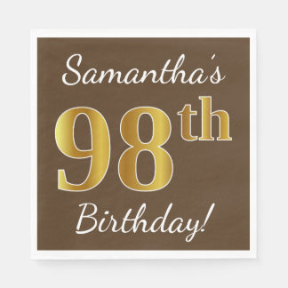 Brown, Faux Gold 98th Birthday + Custom Name Paper Napkins