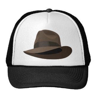 Brown Fedora wide ribbon Trucker Hat