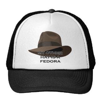 Brown Fedora wide ribbon Cap