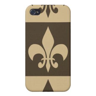 Brown Fleur de lis iPhone 4 Covers