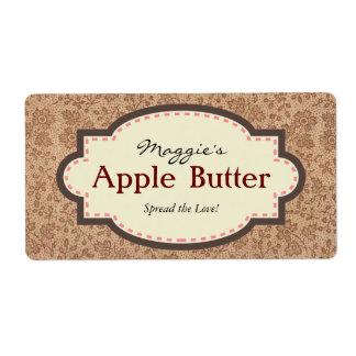 Brown Floral Apple Butter Jam Jar Labels, Custom