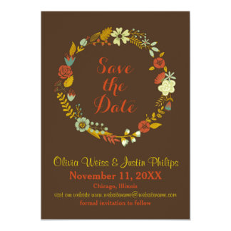 Brown Floral Wreath - Save the Date Card