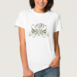 Brown Flourish Swirl Rose Designer Tee